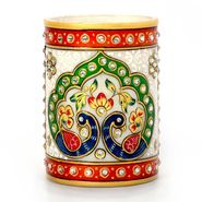 Little India Gold Meenakari Mayur Design White Marble Pen Stand 386