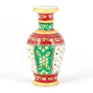Little India Golden Minakari Jali Cut Work Colorful Flower Vase 403