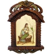Little India Beautiful Lady Feeding Parrot Wooden Jharokha Gift 439