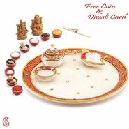 Aapno Rajasthan Marvel In Marble - Gold Embossed Aarti Thali