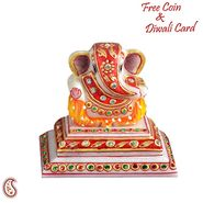 Kundans Studded Hand Painted White Marble Aarti Thali