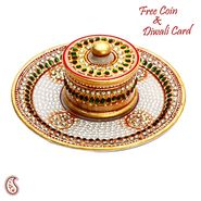 Aapno Rajasthan Decorative Round Plate Tray with Bowl and Lid made from pure white marble