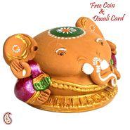 Aapno Rajasthan Brown & Pink Terracotta Ganesh with Veena Showpiece
