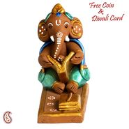Aapno Rajasthan Multicolor Terracotta Ganesh with Dholak Showpiece