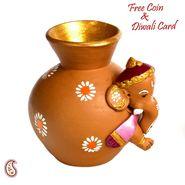 Aapno Rajasthan Multicolor Terracotta Panchmukhi Sitting Ganesh Showpiece