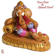 Aapno Rajasthan Multicolor Terracotta Ganesh in Muneem Look Showpiece