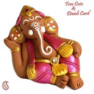 Aapno Rajasthan Multicolor Terracotta Big ear Ganesh Showpiece