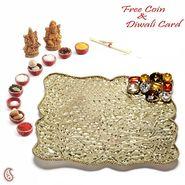 Bold crystals Metallic Gold Plated Diwali Thali