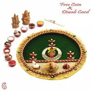Traditional Diwali Pooja Thali with Gat & Ganesh Motif