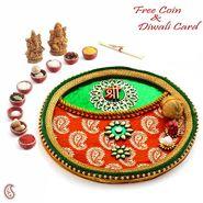 Red & Yellow Pooja Thali with Ganesh Motif