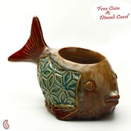 Ceramic Fish Tea Light Holder in Brown and Green