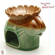 Green Ceramic Rabbit two in one Oil Burner and Tea light Holder