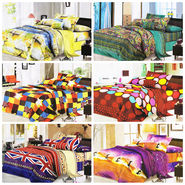 Set of 6 Dekor World 3D Multi Printed BedSheet With 12 Pillow Covers-DWBSCB-010