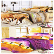 Set of 2 Dekor World 3D Multi Printed BedSheet With 4 Pillow Covers-DWBSCB-020