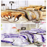 Set of 2 Dekor World 3D Multi Printed BedSheet With 4 Pillow Covers-DWBSCB-021