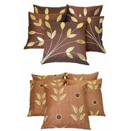 Dekor World Brown Combo Cushion Cover  (Pack Of 10) -DWCB-063