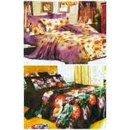 Set of 2 Floral 3D Printed Bedsheet with 4 Pillow Covers-DWCB-493_92