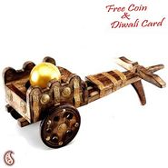 Aapno Rajasthan Wooden Rajwada Bagghi with Golden Ball Candle
