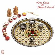 Aapno Rajasthan Oxidized Metal Pooja Thali with Ganesh & Floral Motifs