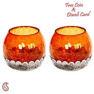 Amber Glass and Oxidized Metal Tea light Holder (Set of 2)