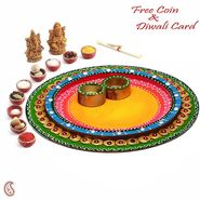 Aapno Rajasthan Wood and Clay Aarti Thali with hand painted work
