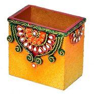 Decorative Kundan Meenakari Wooden Pen Stand 252 (DLI3HCF252)