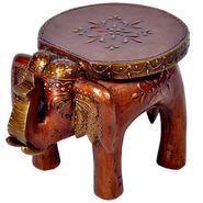 Designer Wooden Elephant Stool Handicraft Gift 304