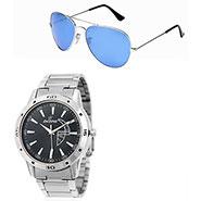 Combo of Dezine Wrist Watch + Aviator Sunglass_CMB94-BLK-BLU