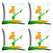 meSleep Indian Map Republic Day Cushion Cover (16x16) -EV-10-REP16-CD-005-04