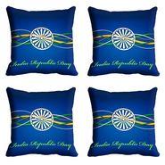 meSleep Blue India Republic Day Cushion Cover (16x16) -EV-10-REP16-CD-026-04