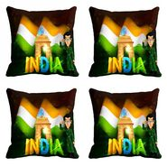 meSleep Black Republic Day Cushion Cover (16x16) -EV-10-REP16-CD-043-04