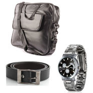 Fidato Laptop Bag + Fidato Black Belt + Fidato Men's Steel Watch