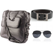 Fidato Laptop Bag + Fidato Black Belt + Fidato Black Aviator