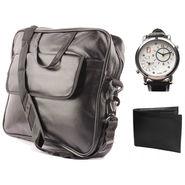 Fidato Laptop Bag + Fidato Dual Time Watch + Fidato Black Leather Wallet