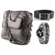 Fidato Laptop Bag + Fidato Black Belt + Fidato Men's Steel Watch