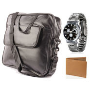 Fidato Laptop Bag + Fidato Men's Steel Watch + Fidato Tan Leatherite Wallet