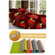 Storyathome Red Floral 1 Double Bedsheet With 2 Pillow Cover -FE1109_TT