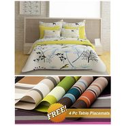 Storyathome White Floral 1 Double Bedsheet With 2 Pillow Cover -FE1129_TT