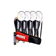 Silver's Pack Of 4 Fire Badminton Racquets With 3/4 Covers + Pack Of 10 Marvel Shuttlecock + 1 Kitbag