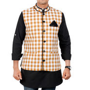 Forge Regular Fit Sleeveless Checks Partywear Jacket For Men - Beige