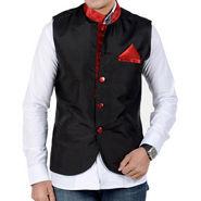 Forge Regular Fit Sleeveless Plain Partywear Jacket For Men - Black