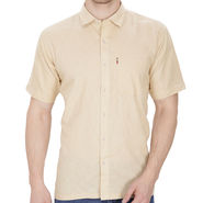 Fizzaro Plain Linen Casual Shirt For Men_Fzls107 - Beige