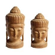 GRJ India Set of 2 Wood Buddha Statue