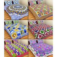 GRJ India Pure Cotton Multi Colour 6 Double BedSheet With 12 Pillow Covers-GRJ-6DB-69BL-68PL-70BL-67RD71BL-73RD