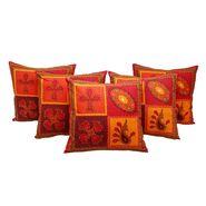GRJ India Traditional Kantha Work  Floral Print Cushion Cover Set-5 pcs-GRJ-CC-5P-28