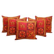 GRJ India Traditional Kantha Work Rajasthani Animal Print Cushion Cover Set-5 pcs-GRJ-CC-5P-38