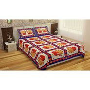 GRJ India Gold Print Double Bed Sheets with 2 Matching Pillow Covers-GRJ-DB-735