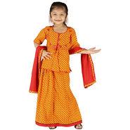 Little India Girls Traditional Sanganeri Red Lehanga Choli - DLI3GED101A