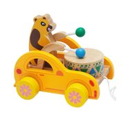 Wooden Bear Knock the Drum Walk-A-Long Push and Pull Toy For Toddlers