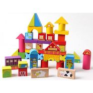 52 Pcs Colourful Wooden Happy Farm Building Blocks For Kids